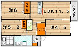 クラヴィエ三萩野[1階]の間取り