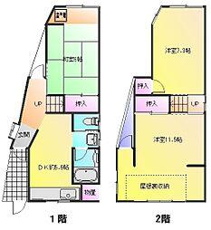 [一戸建] 大阪府八尾市松山町2丁目 の賃貸【/】の間取り