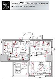 Le'a MARKS横濱参番館 2階ワンルームの間取り