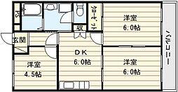 大阪府大阪市生野区巽南2丁目の賃貸マンションの間取り