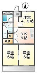 愛知県あま市新居屋榎坪の賃貸マンションの間取り