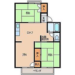 パレーシャル有家[1階]の間取り