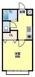 愛知県みよし市黒笹町桐山の賃貸アパートの間取り