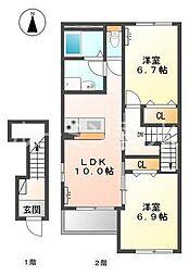 仮 三木市本町新築アパート[203号室]の間取り