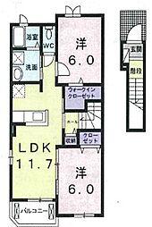 サニーハウスB[202号室]の間取り