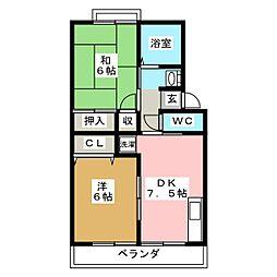トゥインクルコート文化町5番館[2階]の間取り