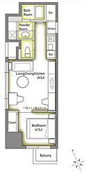 池袋デュープレックスタワー 9階1DKの間取り