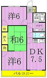 パークマンション西原[2-201号室]の間取り