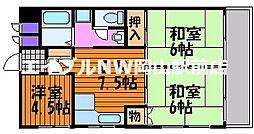 岡山県岡山市北区下石井2丁目の賃貸マンションの間取り
