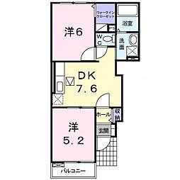 メゾン・ド・タカダ I 1階2DKの間取り