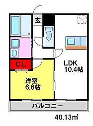 アンプルールクラージュTOSU[2階]の間取り