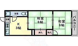 大阪モノレール本線 万博記念公園駅 徒歩23分の賃貸マンション 5階2Kの間取り