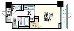 JR山陽本線 兵庫駅 徒歩4分の賃貸マンション 1階1Kの間取り
