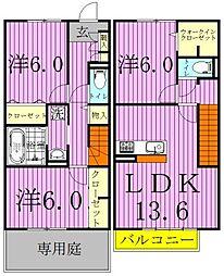 [テラスハウス] 千葉県流山市西初石2丁目 の賃貸【千葉県 / 流山市】の間取り
