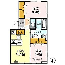 東武伊勢崎線 竹ノ塚駅 徒歩13分の賃貸アパート 1階2LDKの間取り