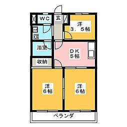 にしき今泉新町ハイツIII[105号室]の間取り