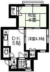 東京都狛江市中和泉2丁目の賃貸アパートの間取り