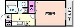 兵庫県神戸市東灘区西岡本1丁目の賃貸アパートの間取り