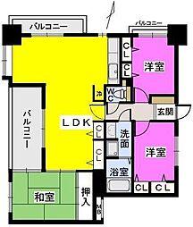 福岡県久留米市篠原町の賃貸マンションの間取り