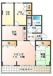 藤和しらさぎハイタウンB[6階]の間取り