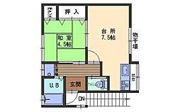 広島県呉市畝原町の賃貸アパートの間取り