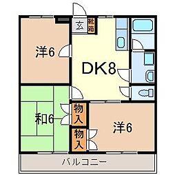 静岡県駿東郡長泉町本宿の賃貸マンションの間取り