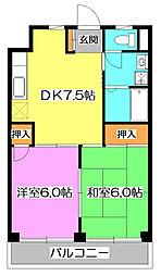 埼玉県新座市石神3丁目の賃貸マンションの間取り