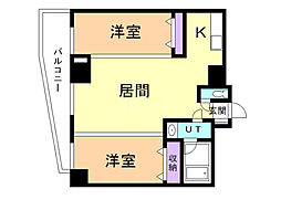 ブレッシング札幌中央(ソレアード) 9階2LDKの間取り