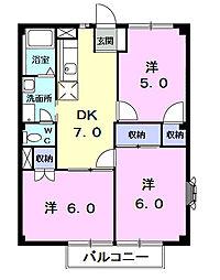 千葉県茂原市東部台3の賃貸アパートの間取り