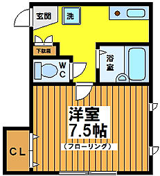 東京都世田谷区松原2丁目の賃貸アパートの間取り