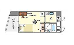 家具・家電付きピュアドーム博多レビュー[5階]の間取り