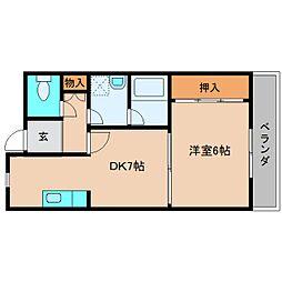奈良県大和高田市日之出東本町の賃貸マンションの間取り