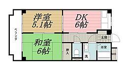 千葉県千葉市中央区都町の賃貸マンションの間取り