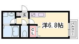 JR東海道・山陽本線 新長田駅 徒歩10分の賃貸アパート 1階ワンルームの間取り
