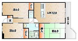 エクセレントリッチ伊崎[4階]の間取り