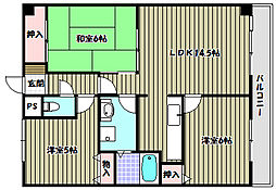 大阪府河内長野市市町の賃貸マンションの間取り