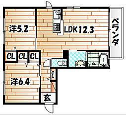 アプリK[1階]の間取り