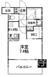 福岡市地下鉄七隈線 薬院大通駅 徒歩3分の賃貸マンション 14階1Kの間取り
