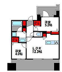 グランフォーレ千早マークスクエア ウエストウイング 5階2LDKの間取り
