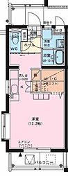 パラシオ末広 1階ワンルームの間取り