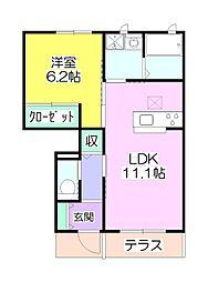 埼玉県越谷市花田1丁目の賃貸アパートの間取り