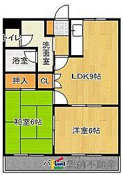 JR香椎線 和白駅 徒歩7分の賃貸アパート 2階2LDKの間取り