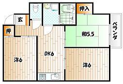 福岡県田川市千代町の賃貸アパートの間取り