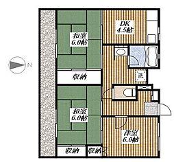 ビレッジハウス郷地[2-305号室]の間取り