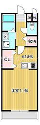 JR大阪環状線 桜ノ宮駅 徒歩5分の賃貸アパート 2階ワンルームの間取り