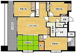 広島県広島市中区白島北町の賃貸マンションの間取り