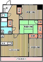 東京都小金井市本町1丁目の賃貸マンションの間取り