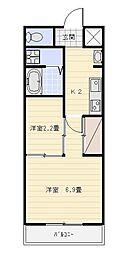ゴールドサークル小松II[302号室]の間取り