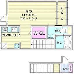 仙台市営南北線 富沢駅 徒歩30分の賃貸アパート 2階1Kの間取り