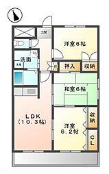 愛知県稲沢市北市場町の賃貸マンションの間取り